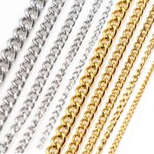 5 metrów/partia nigdy nie znikną zagęścić naszyjnik ze stali nierdzewnej łańcuchy luzem dla DIY ocena biżuteria dokonywanie materiałów artykuły do rękodzieła