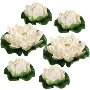 6PCS Artificial Floating Flowers Lotus China-style Simulation Chic Water Lily Lotus for Decoration Fish Tank Pond