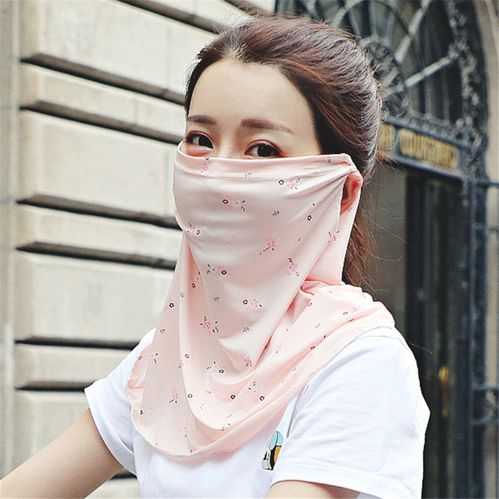 Silk Face Mask Women Sun Protection Scarves Neck Cover Solid Print Lady Hiking Riding Mouth Scarf Ring Wraps Neckerchief New