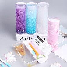 Neue Design Bleistift Fall Schule Supplies Ziemlich Fließende Sand Kreative Kawaii Bleistift Box Multifunktions Stift Halter für Kinder Geschenk