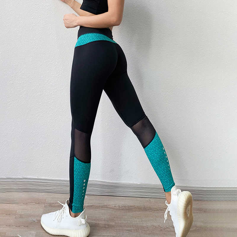 NORMOV femmes Leggings maille Patchwork haut Wasit Push Up Polyester Leggings d'entraînement femme jegging Fitness Leggings Feminina
