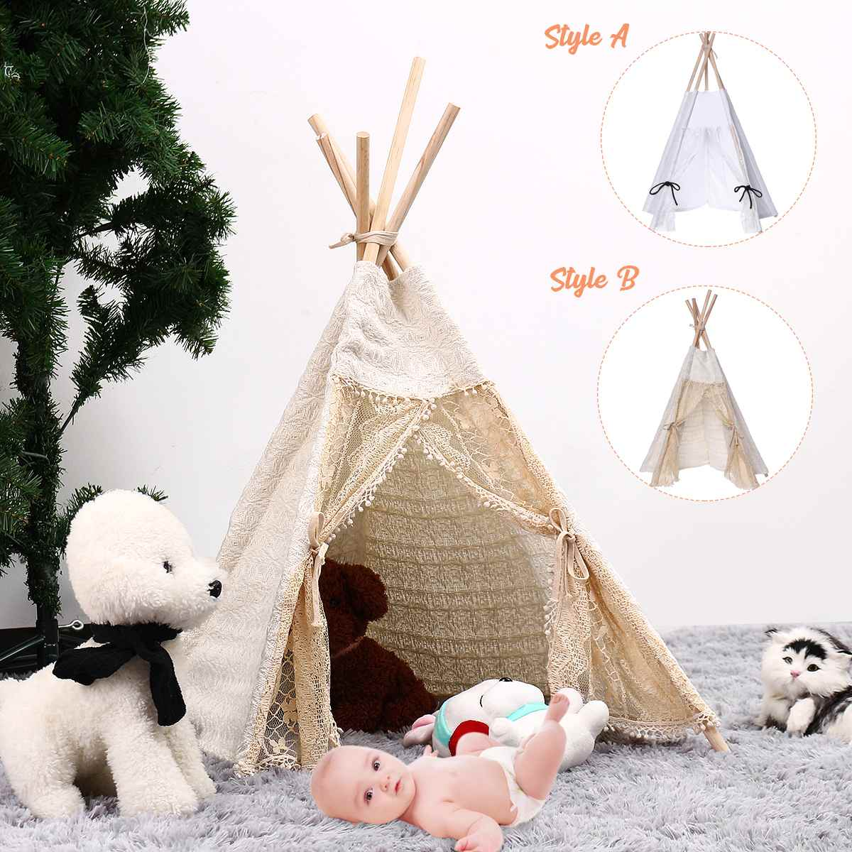 80cm-Large Canvas Teepee Tent Kids Sleeping Newborn Photography Photo Props Kids Teepee Tipi House Children Tipi Tee Tent