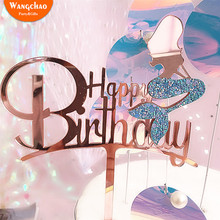 Charming Glitter Acrylic Mermaid Cake Topper Decoration Birthday Accessories Beautiful Party Supplies