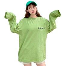 2019 Autumn Fashion Long Women T-shirt Korea style Letter Print T-Shirt Women O-Neck Loose Sleeve Casual Cute Tshirt Tops casual letter print round neck long sleeve distressed t shirt for women
