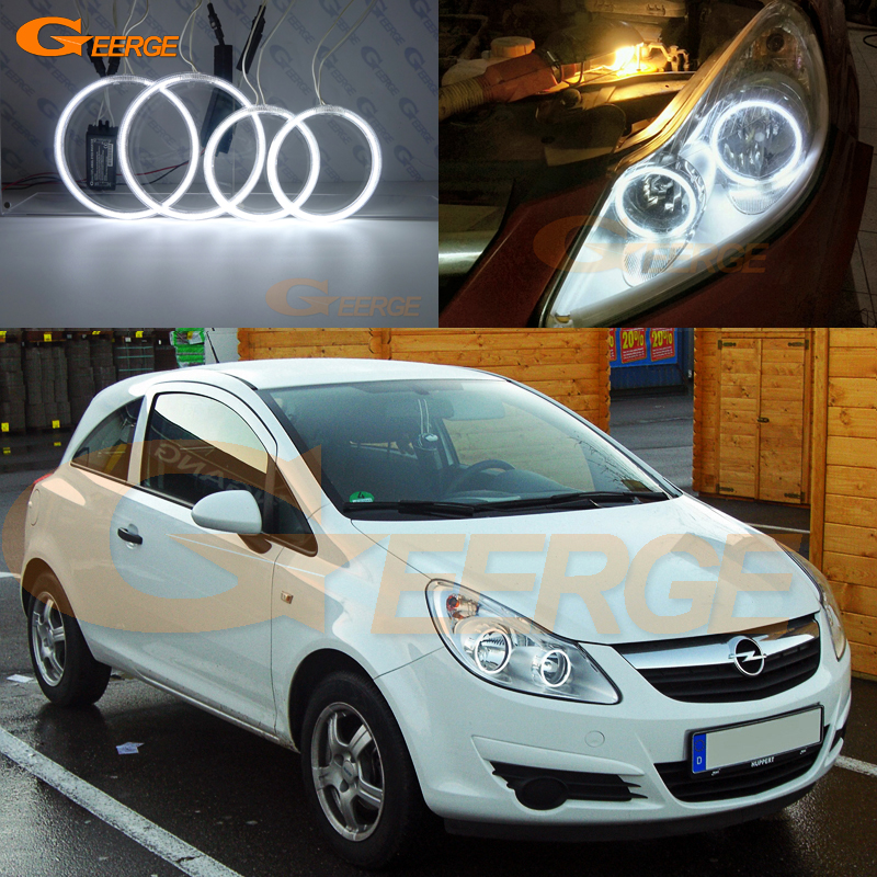 For Opel Vauxhall Corsa D 2006 2007 2008 2009 2010 2011 Pre Facelift Excellent Ultra Bright CCFL Angel Eyes Kit Halo Rings