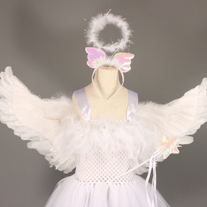 Guardian Angel Kids Halloween Costume White Feather Angel Girls Tutu Dress with Wings & Halo Christmas Nativity Gabriel Clothes (4)