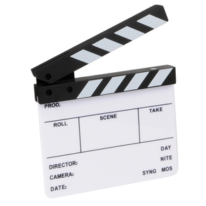 Photography Props Camera Photography Video Acrylic Small Clapboard Dry Erase Director Film Movie Clapper Board Slate 16X14Cm