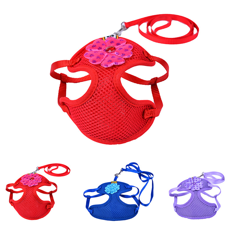 Cartoon Solid Color Chest And Back New Style Pet Strap Dog Hand Holding Rope Pet Supplies Hand Holding Rope