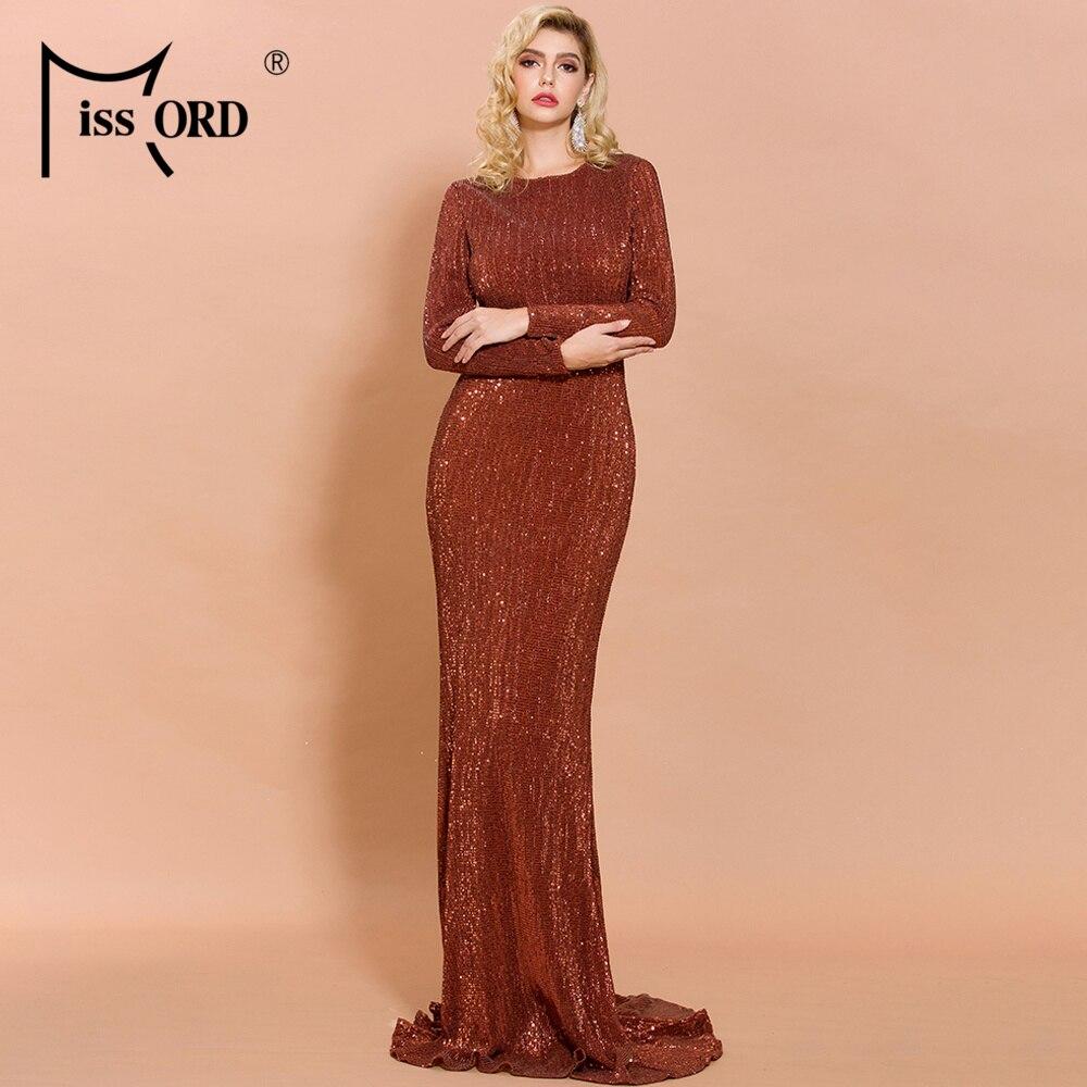 Missord 2020 Autumn Winter O Neck Long Sleeve Sequins Women Party Dress High Waist Solid Color Elegant Female Maxi Dress FT19950