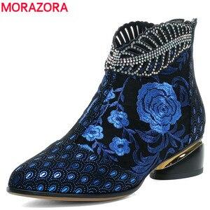 MORAZORA/Новинка 2020 года; Ботильоны; Женская обувь; Ботинки из натуральной кожи с вышивкой в этническом стиле; Женские ботинки на молнии в богемн...