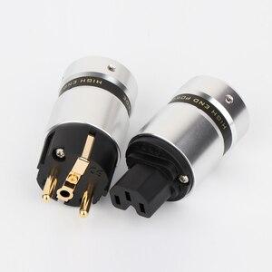 Image 5 - Preffair P081 مرحبا نهاية مطلية بالذهب Schuko قابس طاقة IEC موصل لكابل الطاقة الرئيسية لتقوم بها بنفسك