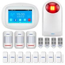 2019 KERUI K52 WIFI GSM ev alarmı sistemi 4.3 inç TFT renkli ekran dokunmatik ekran uzaktan kumanda PIR kapı sensörü kablosuz siren