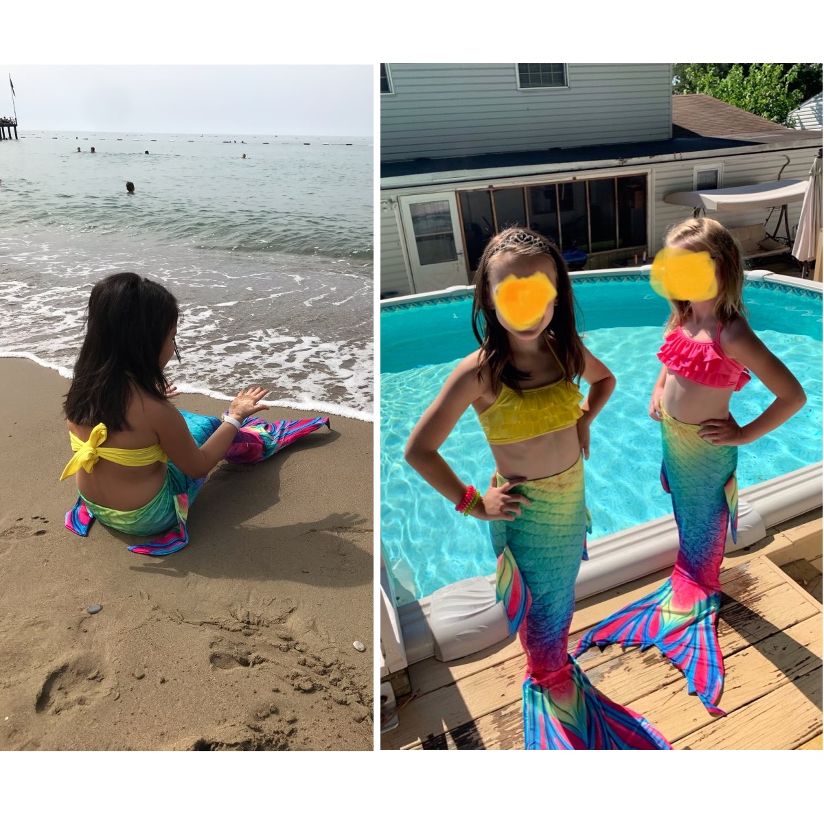 Image 3 - Kids Mermaid Swimsuit Bikini Girls Mermaid Tail with Finned Swimsuit Child's Wear Split Swimsuit Mermaid Tail Clothing Swimwear-in Girls Costumes from Novelty & Special Use
