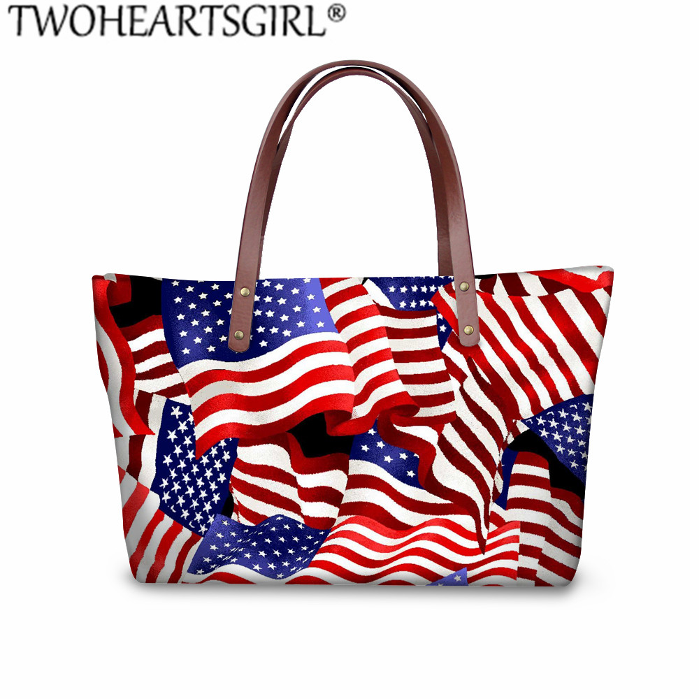 Vintage American Flag Womens Fashion Large Tote Ladies Handbag Shoulder Bag