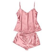 JAYCOSIN Delicate New Ladies Women Sexy Pure Solid Satin Sleeveless Pajamas