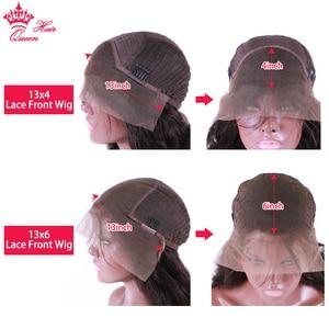 Image 5 - Królowa włosów oficjalny sklep 13x6 HD przejrzyste koronki przodu włosów ludzkich peruk BlackHair ciało fala Glueless Frontal peruka dla kobiet