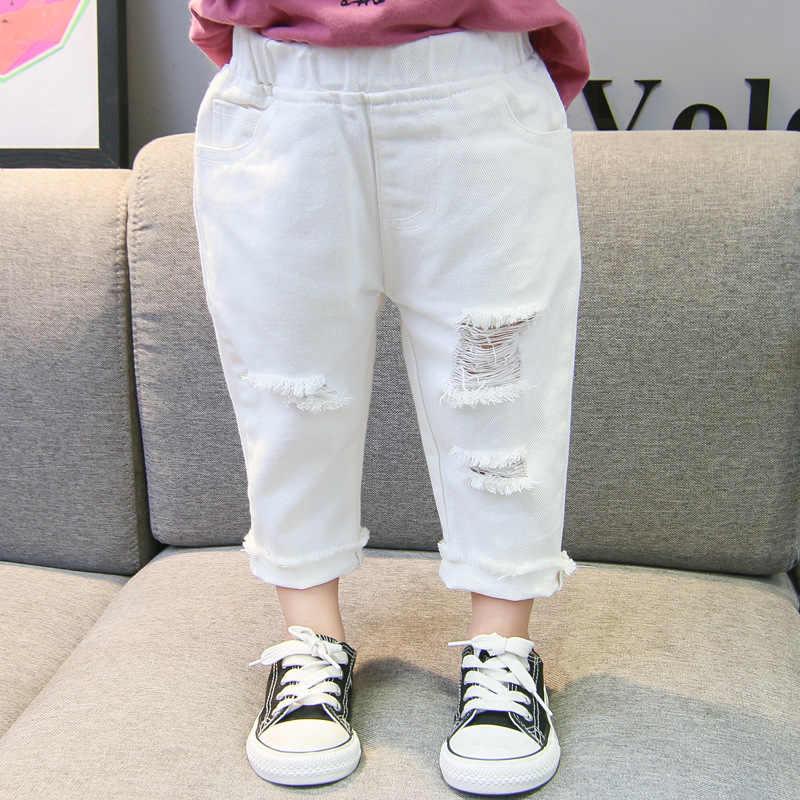 Pantalones Vaqueros Rasgados Para Ninas Pequenas Pantalones De Mezclilla Con Agujero Roto Cintura Elastica Color Blanco Para Primavera Y Otono Pantalones Vaqueros Aliexpress