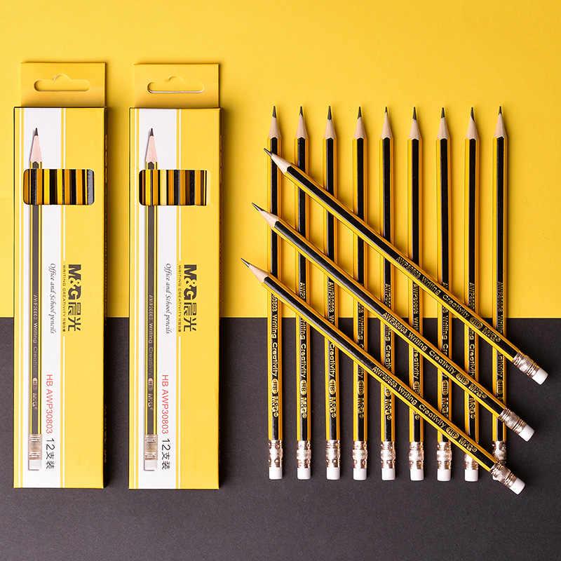 M & G משושה מראש חידד HB עפרונות בית הספר עם מחק עופרת עץ עיפרון עץ גרפיט עיפרון מכתבים בית ספר