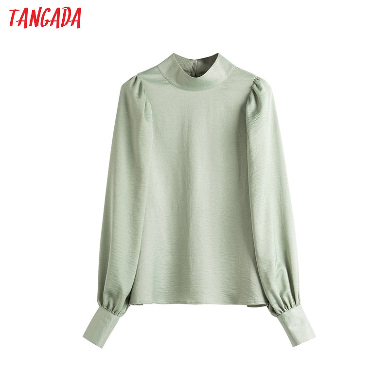 Tangada Women Green Eletang Shirts Lantern Long Sleeve Solid Back Buttons Office Ladies Blouses Tops 4T11