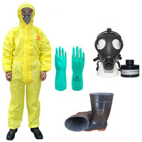 Protective hazmat suit hooded jumpsuit/two pieces acid alkali chemical protection anti sulfur clothing goggle boot set