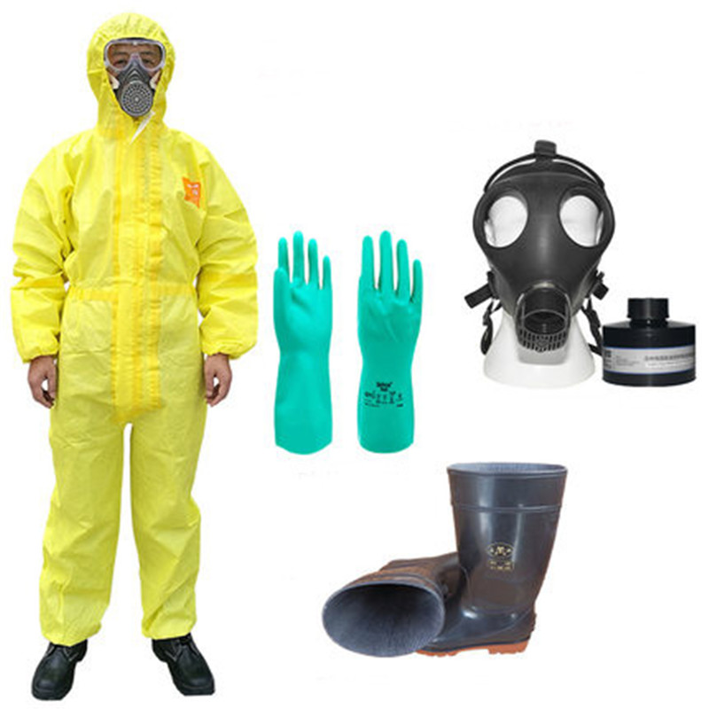 Protective Hazmat Suit Hooded Jumpsuit/two Pieces Acid Alkali Chemical Protection Anti-sulfur Clothing Goggle Boot Set