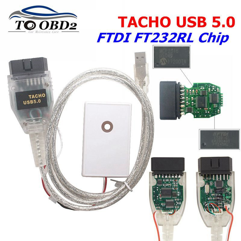 Professional For Vagtacho USB Version V 5.0 Green PCB Board With FTDI FT232RL Chip For VAG Tacho 5.0 For NEC MCU 24C32 Or 24C64