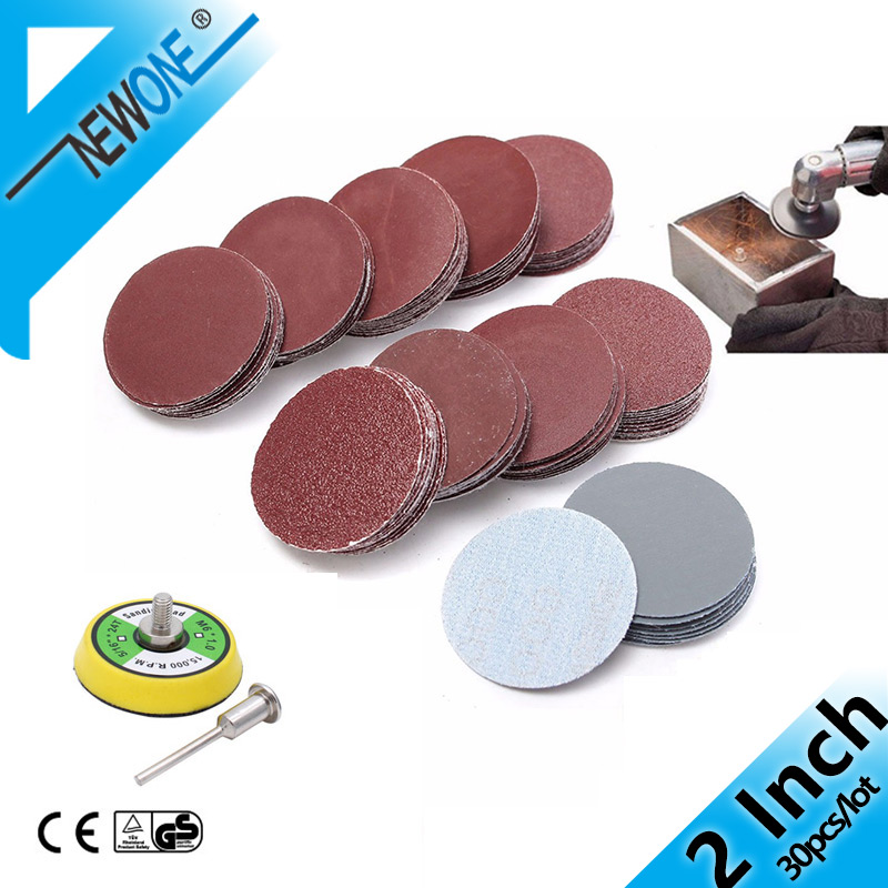 30 Pcs/lot 50MM 2 Inches Dry Grinding Abrasive Paper Flocking Sandpaper Pad Sanding Disc Woodworking For Electric Grinder