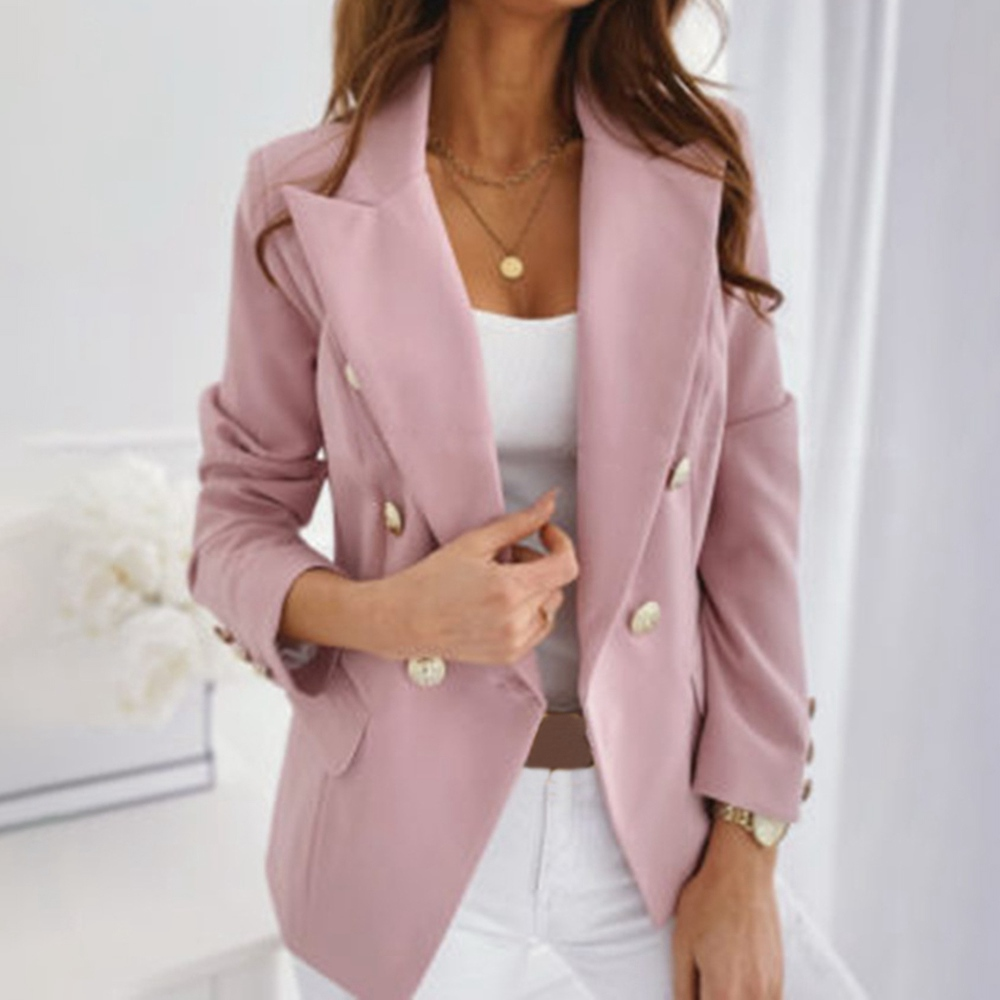 Fashion Autumn Women  Blazers and Jackets Work Office Lady Suit Slim Double Breasted Business Female Blazer Coat