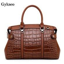 цены на Gykaeo European and American Style Crocodile Pattern Tote Bags Handbags Women Famous Brands Leather Messenger Shoulder Bag Bolsa  в интернет-магазинах