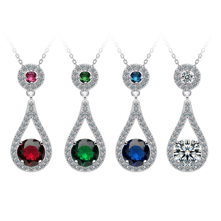 Valentine's Day Multicolor 925 Sterling Silver Necklace for women Wedding Bridal for Brides Jewelry J837