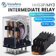 Electromagnetic Coil General DPDT Power Relay MY3NJ DPDT 8Pins HH53P DC12V 24V AC220V Miniature Relay & PYF08A Base