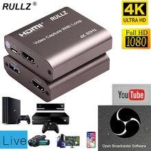 4k 60hz loop para fora hdmi placa de gravação de vídeo de áudio placa de gravação ao vivo streaming usb 2.0 3.0 1080p grabber para ps4 jogo dvd câmera