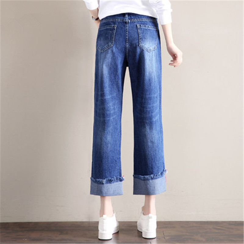 Women's Autumn Fashion Jeans Large Sizes Female Casual Straight Jean Pants With Hole Ladies Denim Overalls LWL484