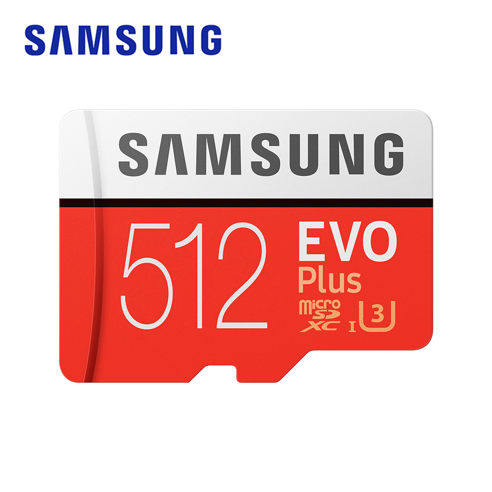 SAMSUNG Memory Card EVO plus 512GB SDXC TF Micro Card U3 4K UHS-I Water-resistant Flash memory cards with Adapter for Smartphone