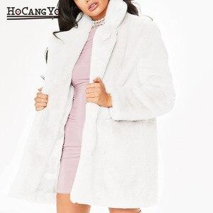 Image 3 - Hcyo秋冬女性の毛皮のコートプラスサイズ3XLくるみボタン毛皮フェイクファーのコート女性のロングルーズソフトウサギの毛皮のコート