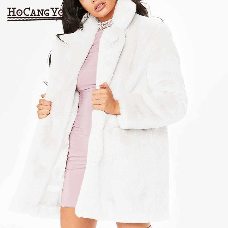 Hcyo outono inverno casaco de pele feminina plus size 3xl botão coberto peludo peles do falso casacos de pele de coelho longo solto macio casaco