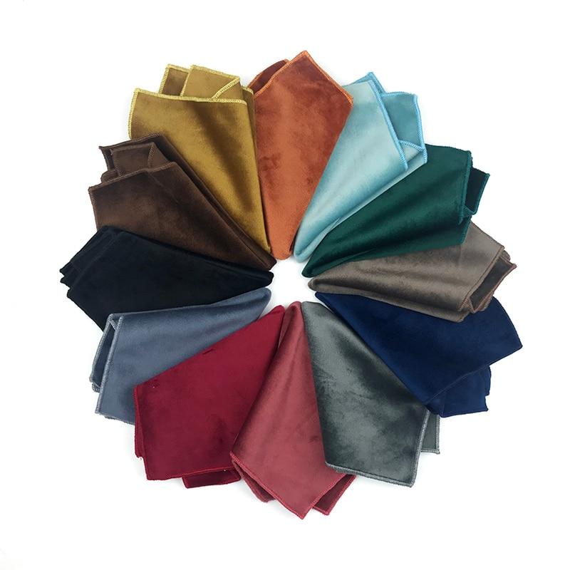 High Quality Velvet Solid Pocket Square For Men Handkerchief