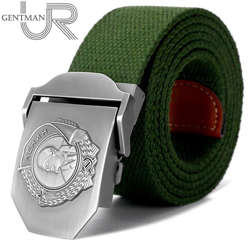 New Men & Women Belt Soviet Highest Honor Lenin Medal 3D Canvas Belt Soviet Memory CCCP Luxury Jeans Military Tactical Belts