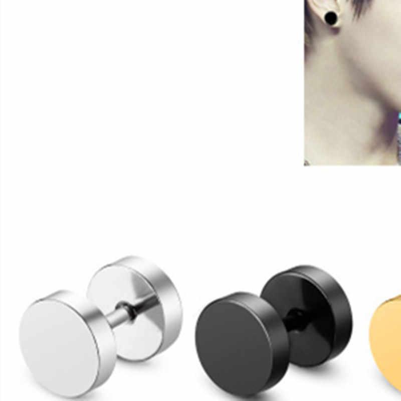 1 ペアパンステンレス鋼イヤリング両面ラウンドボルトスタッドピアスユニセックスゴシックバーベルイヤリング女性耳の骨釘