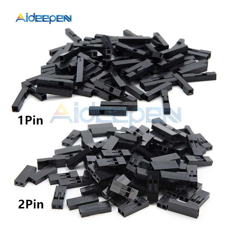 100 Pcs/lot 2.54 Mm 1 Pin 2 Pin Pitch DuPont Jumper Kawat Kabel Hitam Perumahan Plastik Wanita Pin Konektor Case shell Kotak 1 P/2 P
