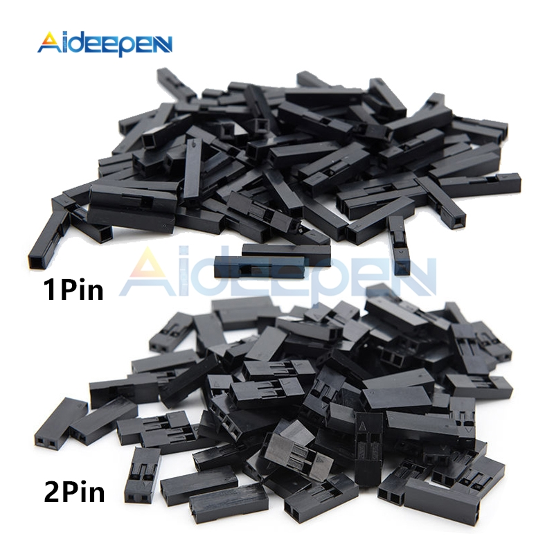 100Pcs/lot 2.54mm 1 Pin 2 Pin Pitch Dupont Jumper Wire Cable Black Plastic Housing Female Pin Connector Case Shell Box 1P/2P