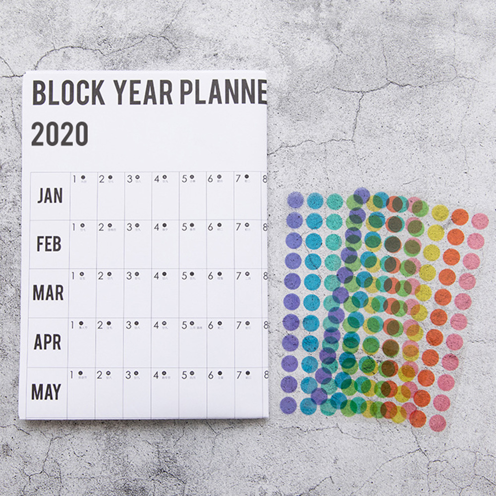 Daily Practical Planner Annual Schedule Brown Paper Memo Organiser Arrangements Yearly Calendar With Sticker Office Supplies