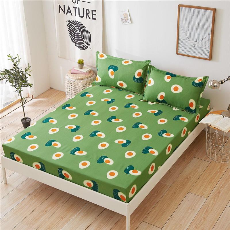 Авокадо постельное белье 1 шт простыней на кровать зеленый авокадо печатных простыня наматрасник с Эластичная лента постельного белья (без наволочки)-0