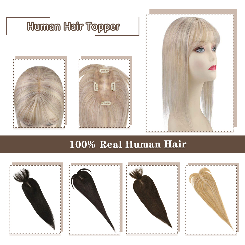 Moresoo Hair Topper Human Hair Hair Pieces 12*6cm 8-18inches Straight Hair Machine Remy Hair Clips For Women Toupee