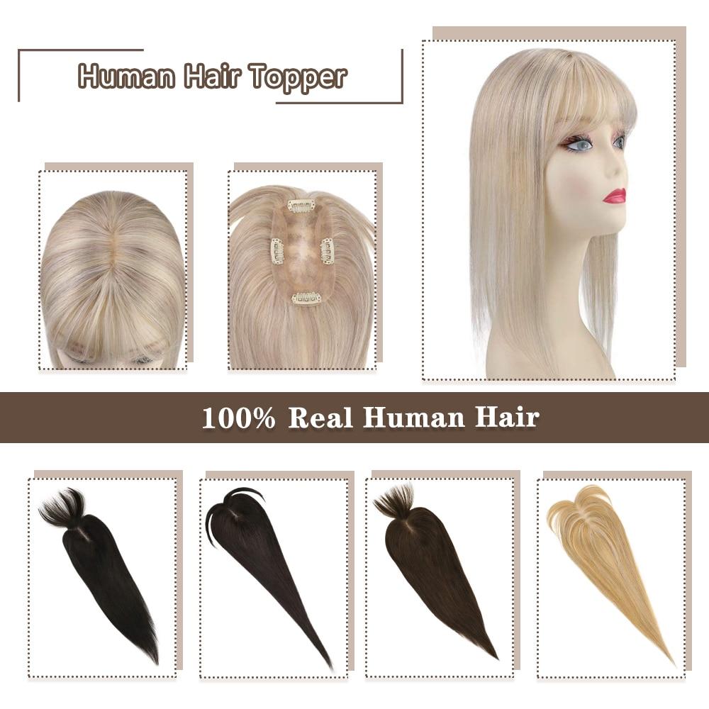 Moresoo Hair Topper Human Hair Hair Pieces 12*6cm 8-18inches Straight Hair Machine Remy Hair Clips For Women Toupee