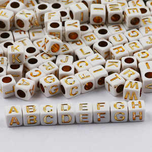 500-100PCS Random Mixed Letter Beads Acrylic Square Alphabet Loose Beads For Jewelry Making DIY Children's Necklace Bracelet