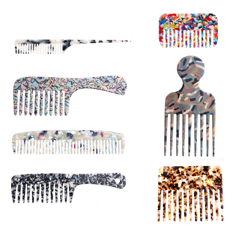 WITH LOGO Mixed Many Design Comfortable Acetate  Beige Tortoise Shell Acetate Hair Combs For Fashion Women Girls