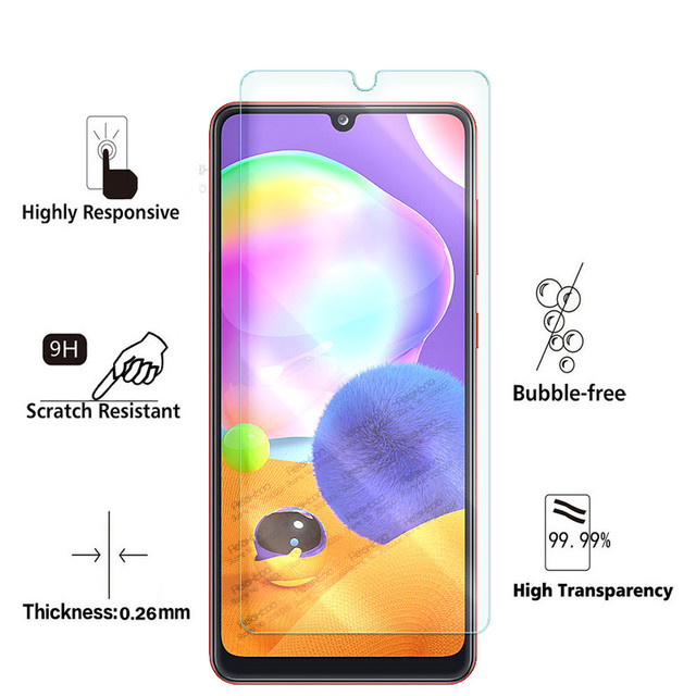 """2-in-1 camera lens glass for samsung a31 a 31 screen protector for samsung galaxy a31 2020 sm-a315f/ds 6.4"""" protective glas film 2"""