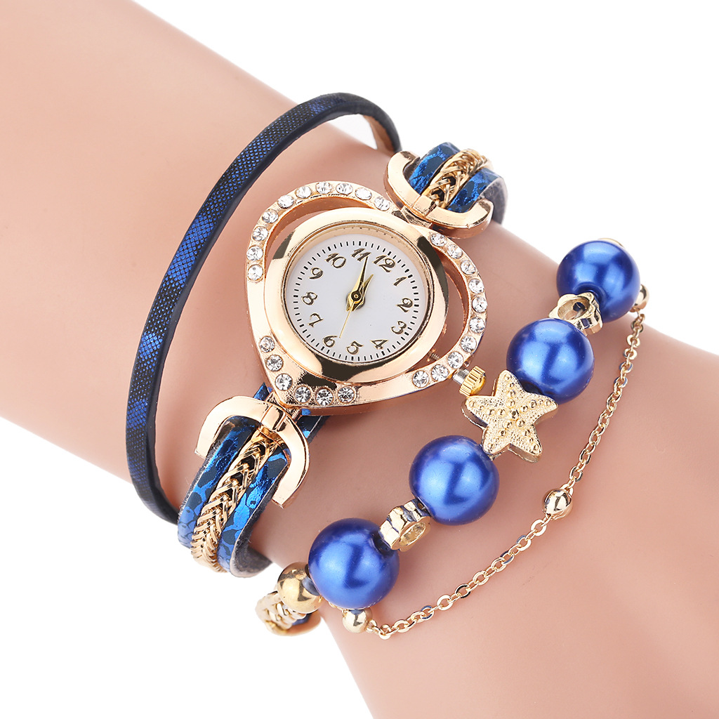Women's Watches Vintage Leather Alloy Rhinestone Pearl Wristwatch Bracelet Quartz Female Watch Fashion Ladies Watches