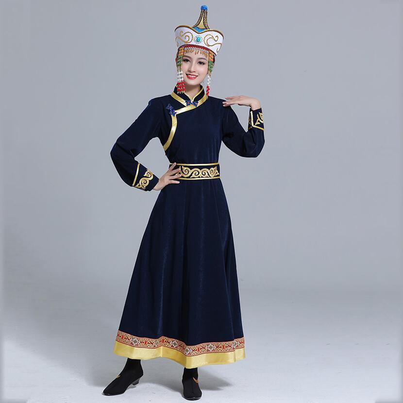 Folk Dance long dress Mongolian Classical long robe Women stage Performance Clothing ethnic style festival costume